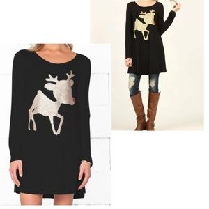 12PM By Mon Ami Christmas Red Nose Reindeer Tunic